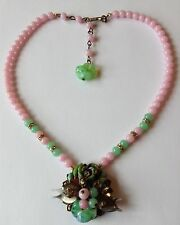 VINTAGE MIRIAM HASKELL SIGNED PINK & GREEN BEAD MOLDED FLOWER PENDANT NECKLACE