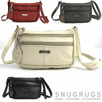 NEW GENUINE REAL LEATHER COMPACT CROSS BODY BAG BROWN / RED / WHITE Ref:377205