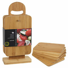 7 pieces Bamboo Chopping Cutting Slicing Boards With Display Stand Fruit Vegetab