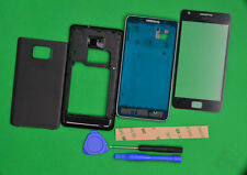 Black Housing Cover + Front Glass Lens+Tools For Samsung Galaxy S2 SII GT-i9100