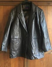 Vintage Denim & Co. Women's Leather Jacket Dark Brown Blazer/Sport Coat (2X)