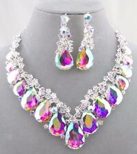 AB Crystal Tear Round Rhinestone Necklace Set Silver Fashion Jewelry NEW
