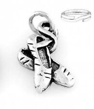 """STERLING SILVER """"BALLERINA SHOES"""" CHARM WITH ONE SPLIT RING"""