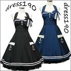 dress190 BLACK or BLUE HALTER 50's PINUP ROCKABILLY VTG SWING PROM PARTY DRESS