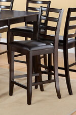 Set of 4 Fairwinds counter height bar stool chairs faux leather seat cappuccino