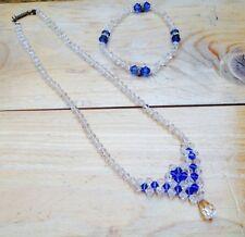 Vintage Clear & Blue Glass Bead Necklace & Bracelet Set/Retro/50's/Occasion Wear