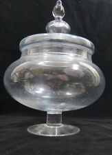 "Clear Glass Vase Bowl Footed  with Lid 13"" Tall 10"" diameter"