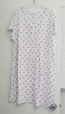 Aria Womens White Bud Print Short Sleeve Nightgown A29017753 Sz 1X - NWT
