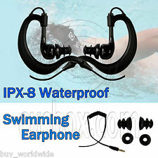 IPX-8 Waterproof 3.5mm Hook Swimming Headphones Earphones Earbuds Earhook MP3