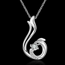 925 Silver Crystal Dragon Pendant Necklace Women Fashion Jewlery Party Gift