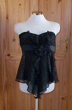 JANE NORMAN black chiffon polka dot spotted strapless corset top frill 6 34