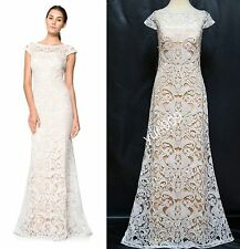 TADASHI SHOJI IVORY PETAL  EMBROIDERY LACE CAP SLEEVE FORMAL GOWN DRESS 10 $595