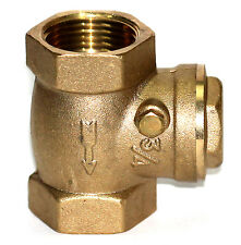 "NNI 3/4"" NPT Brass Swing Check Valve soft seat Rubber Clapper 200WOG"
