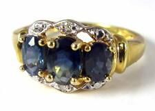 Women Blue Sapphire Diamond Engagement  Promise ring band 10K yellow Gold