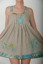 Antica Sartoria Positano 100% Lino Abito Dress Multicolor Blu Ecru L/XL