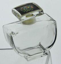 ANTIQUE GLASS PERFUME BOTTLE ART DECO W/ FLORAL STICKER
