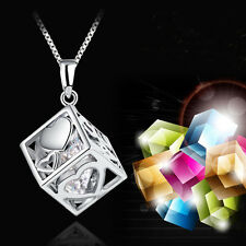 Trendy Women Jewelry Magic Love Cube Silver Crystal chain Necklace Pendant Gift