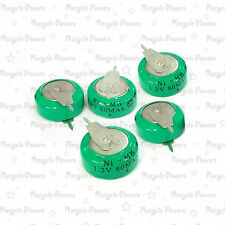 5 pieces Ni-MH 80mAh 1.2V button Rechargeable Battery backup power with tab