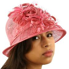 1920s Flapper Sinamay Flower Net Cloche Bell Back Flip Bucket Church Hat Rose