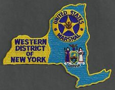 UNITED STATES MARSHAL NEW YORK WESTERN DISTRICT POLICE PATCH STATE SHAPED