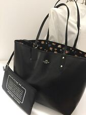 COACH Tea Rose Reversible Black Multi PVC City Tote Bag FREE SHIPPING
