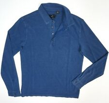 NEW HUGO BOSS SESSANIO VINTAGE BLUE DYED SLIM FIT L/S CASUAL POLO SHIRT SIZE XL