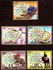 TCHAD Sport d'hiver  5 timbres,luge,descente,hochey, vitesse, patinage  152T3