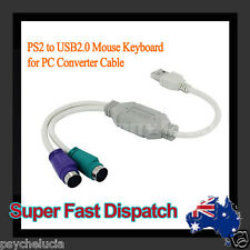 USB Male to 2x PS2 PS/2 Female Port Adapter Cable Cord for PC Mouse Keyboard