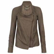 Muubaa Castor Unlined Drape Leather Jacket in Mink. RRP £359. M0338. UK 10.