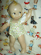 "Sweet 12"" antique compo. KEWPIE, Rose O'Neill design Cameo, 1925 yellow sunsuit"