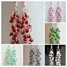 Wholesale! 6 Pairs czech Glass bead chainmaille earrings with sterling silver