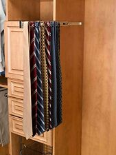 NEW Closet Wardrobe Mounting Chrome Slide Out Mens Neck Tie Rack - Holds 25 Ties