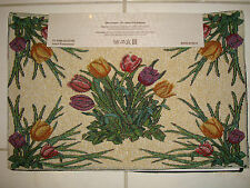 Home Tradition Set Of 4 Spring Tulips Tapestry Fabric Placemats 13x19 FLOWER