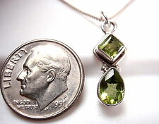 Very Small Faceted Peridot Necklace 925 Sterling Silver Teardrop & Square New