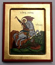 Icono sagrado Georg a caballo lucha con los dragones Icon st. george Icona Ikona Icone
