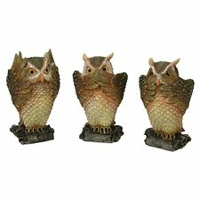Three Wise Owl Forest See Hear Speak No Evil Set Figurine Statue Collection