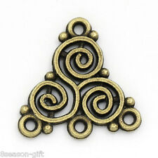 50 PCs Charm Connectors Hollow Spiral Pattern Triangle Bronze Tone 20mmx19.5mm