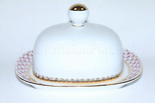 Russian Imperial Lomonosov Porcelain Butter Dish Net Blues 22k Gold Russia Lfz