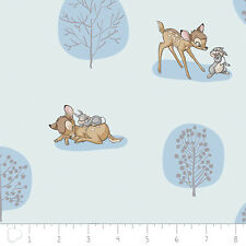 Camelot Disney Bambi Forest Scene Light Blue 100% cotton fabric by the yard