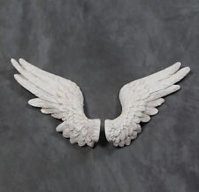 Large Pair of Decorative Antiqued White Angel Wings Wall Hangings - 58 cm Wide