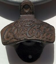 Drink Coca Cola Bottle Opener Cast Iron Rustic Wall Mount Man Cave Vintage Coke