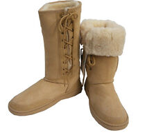 Tall Beige Ugg Sheepskin Boots Australian Moulded Sole Laceup Wool Boot New