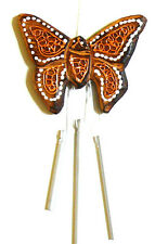 CARILLON PAPILLON BOIS METAL ARTISANAT WOODEN BELL WIND CHIME BUTTERFLY