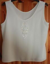 LADIES SLEEVELESS TOP TUNIC IVORY OFF WHITE SEQUIN & BEADS SIZE 16 18 ?? USED