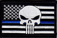 BLUE LINE FLAG w/PUNISHER SKULL - USA - LAW ENFORCEMENT - POLICE - IRON ON PATCH