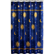 "Celestial Fabric Shower Curtain 70"" x 71"" Polyester Bath Navy Moon Star Sun Blue"