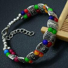 Elegant High Quality New Tibet Silver Multicolor Jade Turquoise Bead Bracelet