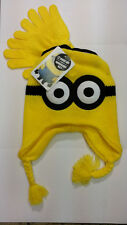 DESPICABLE ME MINION REVERSIBLE BEANIES WITH PAIR OF GLOVES SET 100%  ORIGINAL