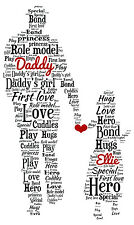 Dad Daddy Daughter Personalised Word Art Fathers Day