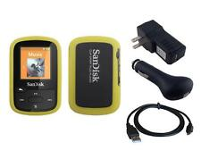 Black Charger Cable + Yellow Skin Case for Sandisk Sansa Clip Sport Plus SDMX28